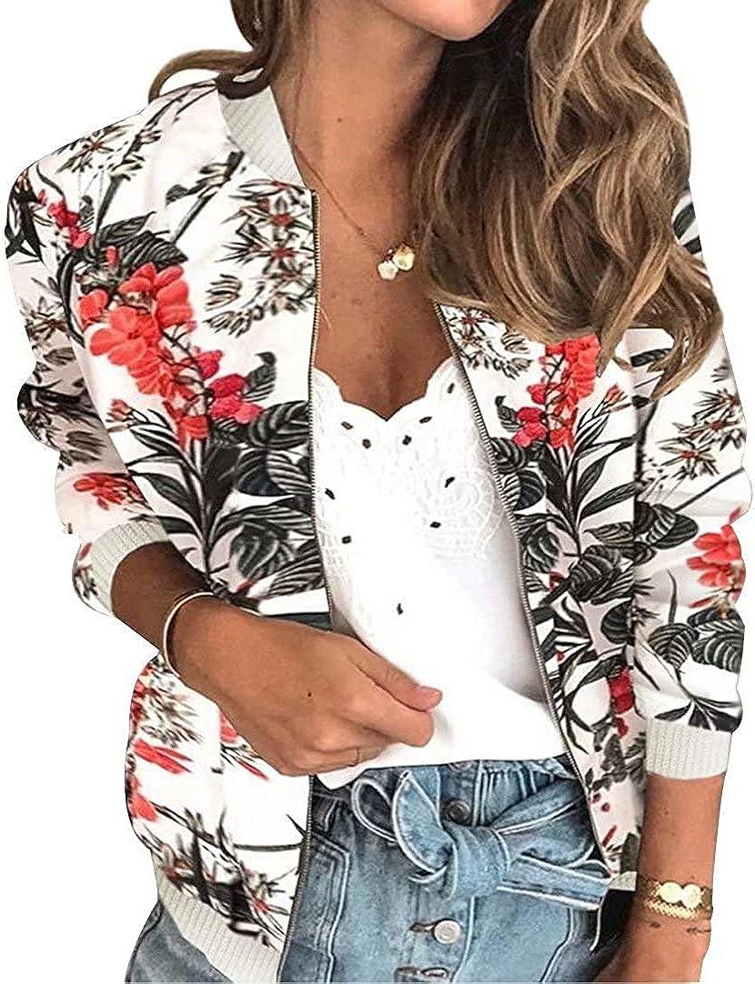 Alilyol Women's Retro Floral Jacket Casual Lightweight Zipper Bomber Jacket, Long Sleeve