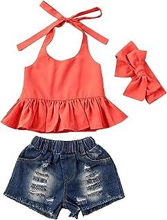 أزياء أطفال طفل طفل طفل فتاة الصيف الزي بلا أكمام الرسن الأعلى + مجموعة ملابس شورت الدنيم