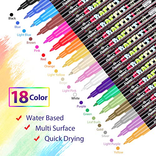 Acrylic Paint Pens,Emooqi Marker Pens for DIY Craft Projects Waterproof Permanent Paint Art Marker for Rock Painting, Ceramic, Glass,Canvas,Mug,W   ood,Metal-0.7mm fine tip (18 PCS)