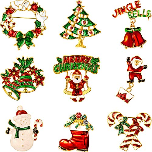 9 Pieces Christmas Brooch Pin Set with Rhinestone Crystal Christmas Decorations (Merry Christmas Set)