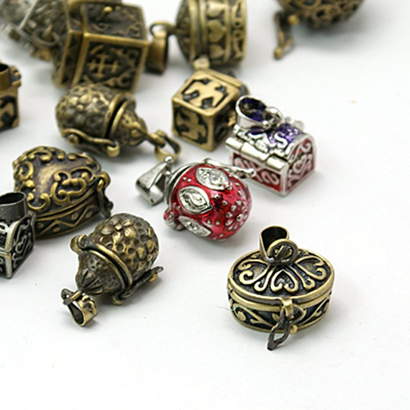 arricraft 10pcs Brass Prayer Box Pendants for Jewelry Making and Garment Decoration, Mixed Shape and Mixed Color