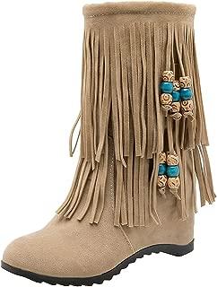 Zanpa Women Classic Fringe Booties Wedge Heels