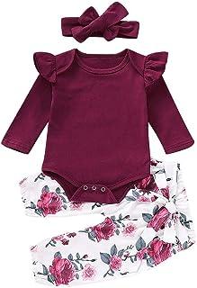 Plot 0-2 Jahre Baby Mädchen Outfit Set 3 Stück Einfarbig Strampler  Blumendruck Hosen  Haarband Kleinkind Baby Winter Kleidung Set