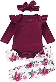 3 Piece Newborn Infant Kid Baby Girl Floral Clothes Jumpsuit Romper Bodysuit Tops Pants Headbands Outfit