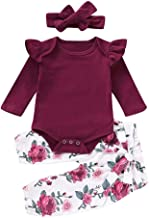 3 Piece Newborn Infant Kid Baby Girl Floral Clothes Jumpsuit Romper Bodysuit Tops Pants Headbands Outfit