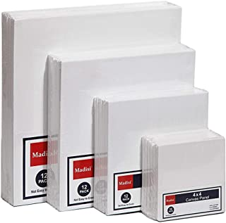 Madisi Painting Canvas Panels Multi Pack, 4x4, 6x6, 8x8, 10x10(12 of Each), 48 Pack