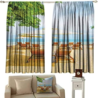cashewii Seaside Decor Collection Novel Curtains Umbrella and Chairs on Tropical Beach Summer Vacation Destination Image Print for Living, Dining, Bedroom (Pair) 55