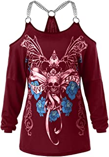 CharMma Women's Plus Size Scoop Neck Cold Shoulder Skull Floral Print T-Shirt
