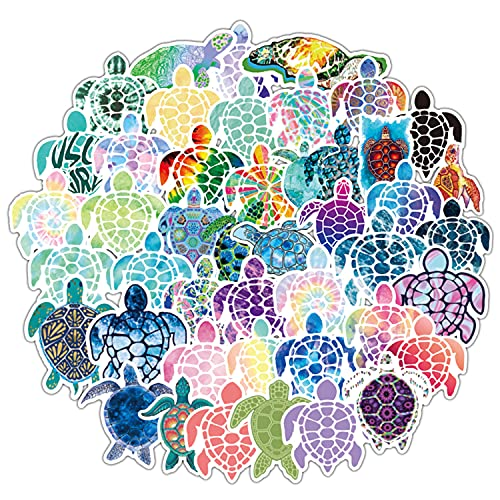 50 Pcs Colorful Sea Turtle Stickers | Colorful Sea Turtle Waterproof Vinyl Stickers for Bicycles, Kettles, notebooks, Mobile Phones, etc. on Any Product You Want