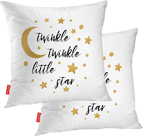 BaoNews Cute Pillow Covers Twinkle Twinkle Little Star Baby Shower Invitation Square 18 X 18 Inches Decorative Throw Pillow Covers Cotton Cushion For Sofa Bedroom Car Gold Set Of 2