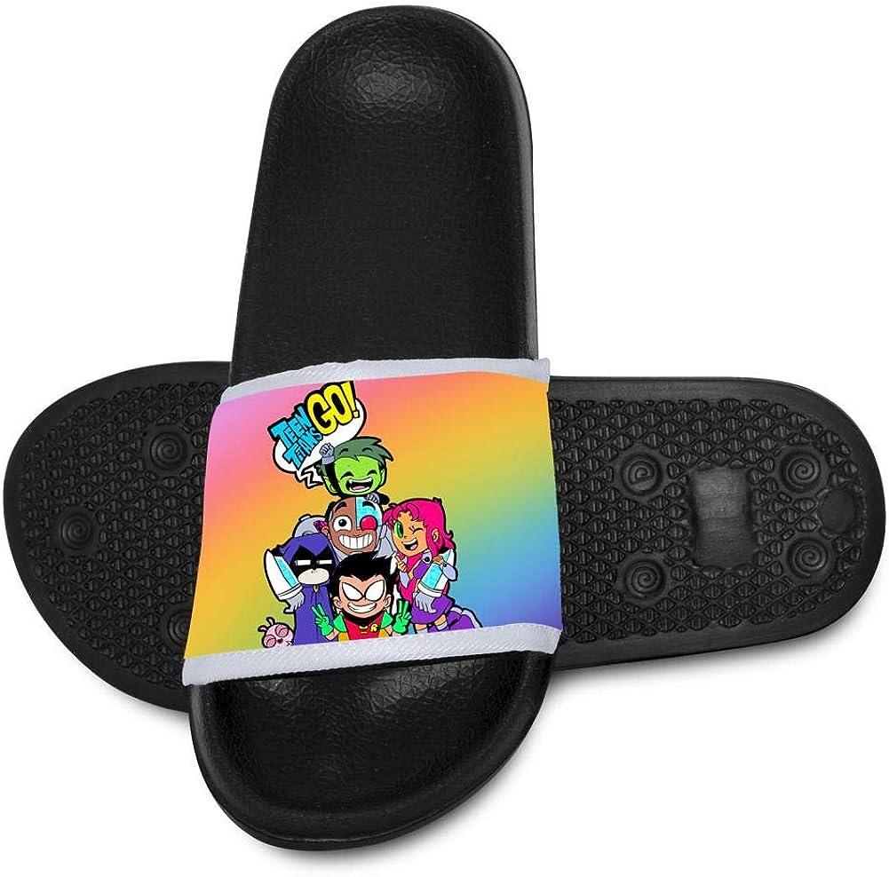Cartoon-Teen-Titans Kids Slide Slippers Summer Shoes Outdoor Home Sandals Boys Girls Black