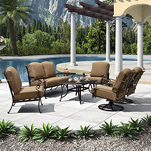 PURPLE LEAF 7 PCS Outdoor Patio Furniture Set Powder Coated Cast Aluminum Patio Conversation Sets, Swivel Single Sofas, Cushions Included, Beige