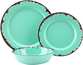 Rustic Melamine Dinnerware Set - 12 Pcs Yinshine Outdoor Camper Dinnerware Dishes Set Service for 4, Green