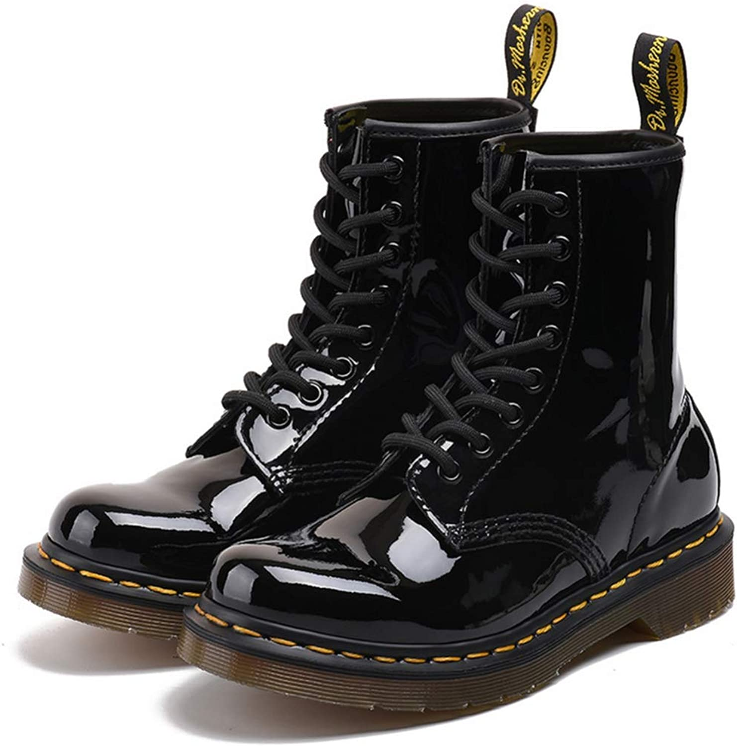 Shiney Women's Martin Boots Bright Leather Patent Leather High Boots 8 Holes Black Classic Model Fall Winter