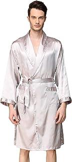 YAOMEI Unisex Women Mens Dressing Gown Kimono Bathrobe Satin, Mens Silky Long Sleeves Kimono Robes Pyjamas Sleepwear Night...