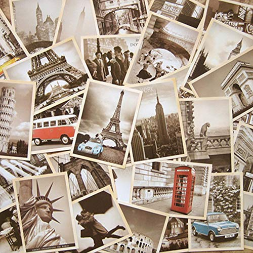 32 Stück Vintage Retro alte Reise-Postkarten Grußkarten zum Sammeln, Vintage-Postkarten zum Sammeln, Großpackung (Europa Travel Sehenswürdigkeiten)