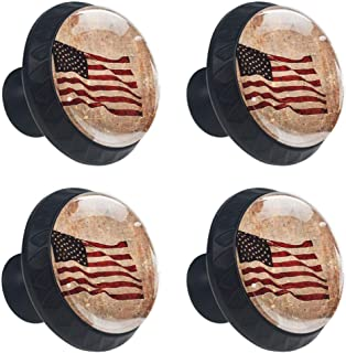 4 Pcs Retro Patriotic American Flag Dresser Cabinet Knobs Drawer Pulls Round Glass Cupboard Wardrobe Furniture Handles with Screws for Home Office 35mm (1-3/8 Inches)