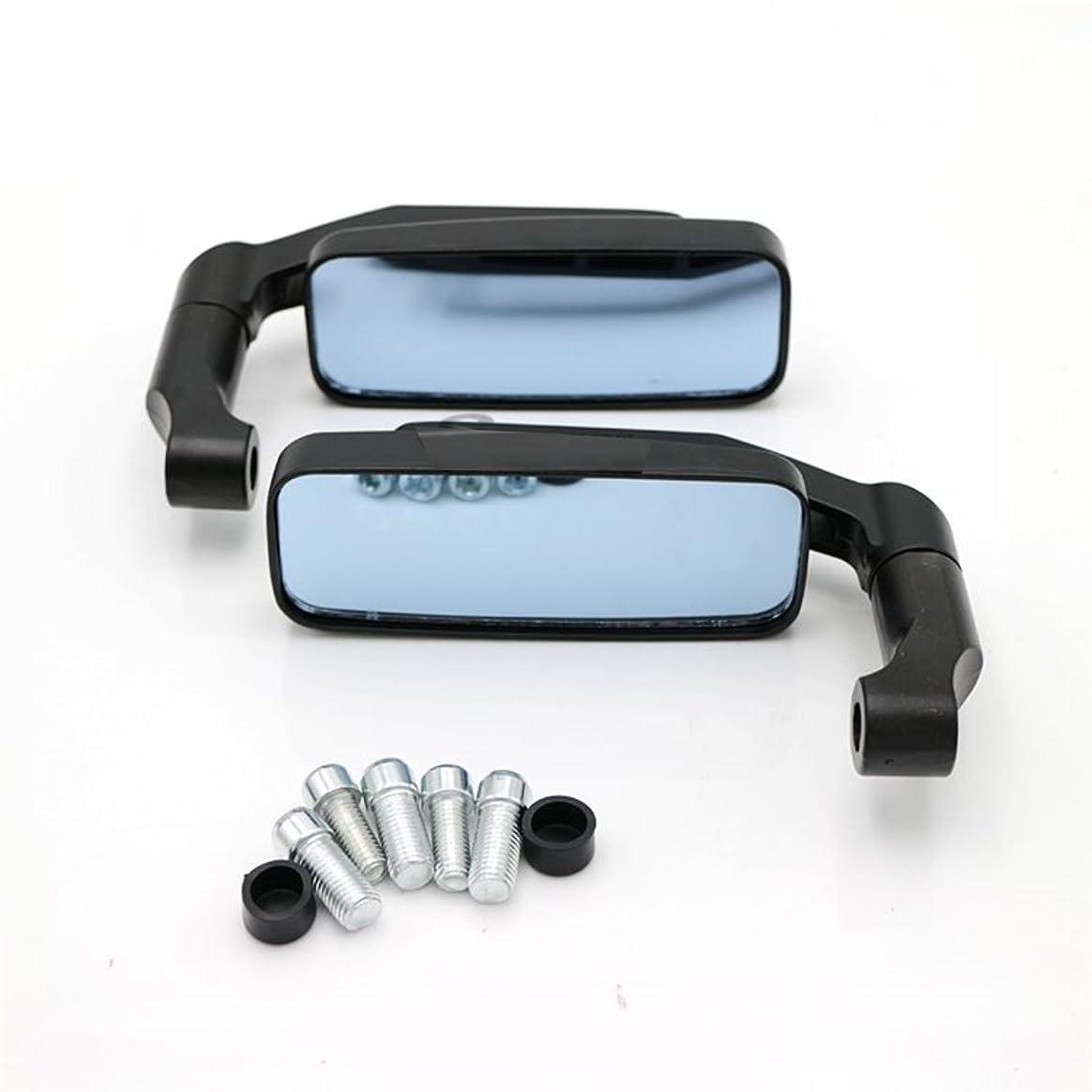 神聖漏斗パケットXSAJU バイク ミラー スクエア型 左右セット 正ネジ 逆ネジ 8mm 10mm付属 (ブラック)