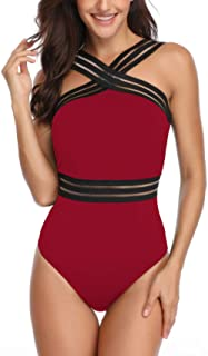 Womens Tummy Control Swimsuits Crisscross Straps Slimming Bathing Suit