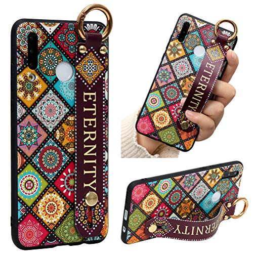 Eouine for Samsung Galaxy A20 Case, Phone Case Silicone Wrist Strap Band with Pattern Ultra Slim Shockproof Soft Cover Wristband Kickstand Skin for Samsung Galaxy A20 / A30 (Circle)
