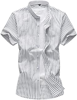 Doufine Mens Basic Style Hit Color Cotton Linen Plus Size Woven Shirt