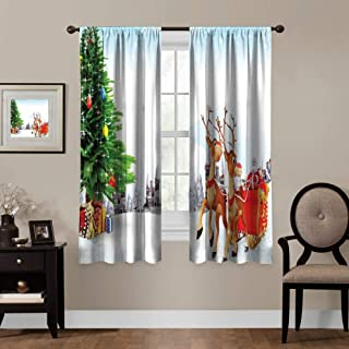 HunttyNan Waterproof Window Curtain W72 x L84 CurtainSanta,Snow Covered Christmas Village with Cartoon Santa on His Sleigh Big Tree and Boxes,Multicolor,for Bedroom&Kitchen&Living Room,