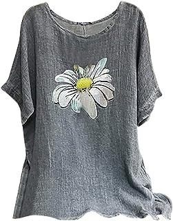 Women Plus Size Short Sleeve Tops, Ladies O-neck Floral Printed Vintage Cotton-Blend T-shirts Blouse Top