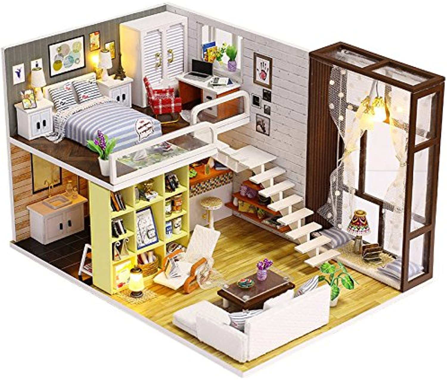 SODIAL DIY Wooden Doll House Toy Dollhouse Miniature Assemble Kit with Led Furnitures Handcraft Miniature Dollhouse Simple City Model