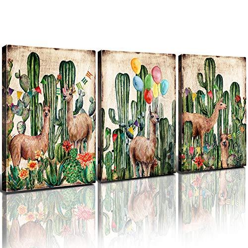 Boho Cactus Wall Art Llama Canvas Prints Bedroom Decor Mexico Desert Alpaca Framed Painting Set of 3 Pcs Watercolor Brown Tropical Plant Picture Teenage Girls Nursery Bathroom Home Decoration 12x16'