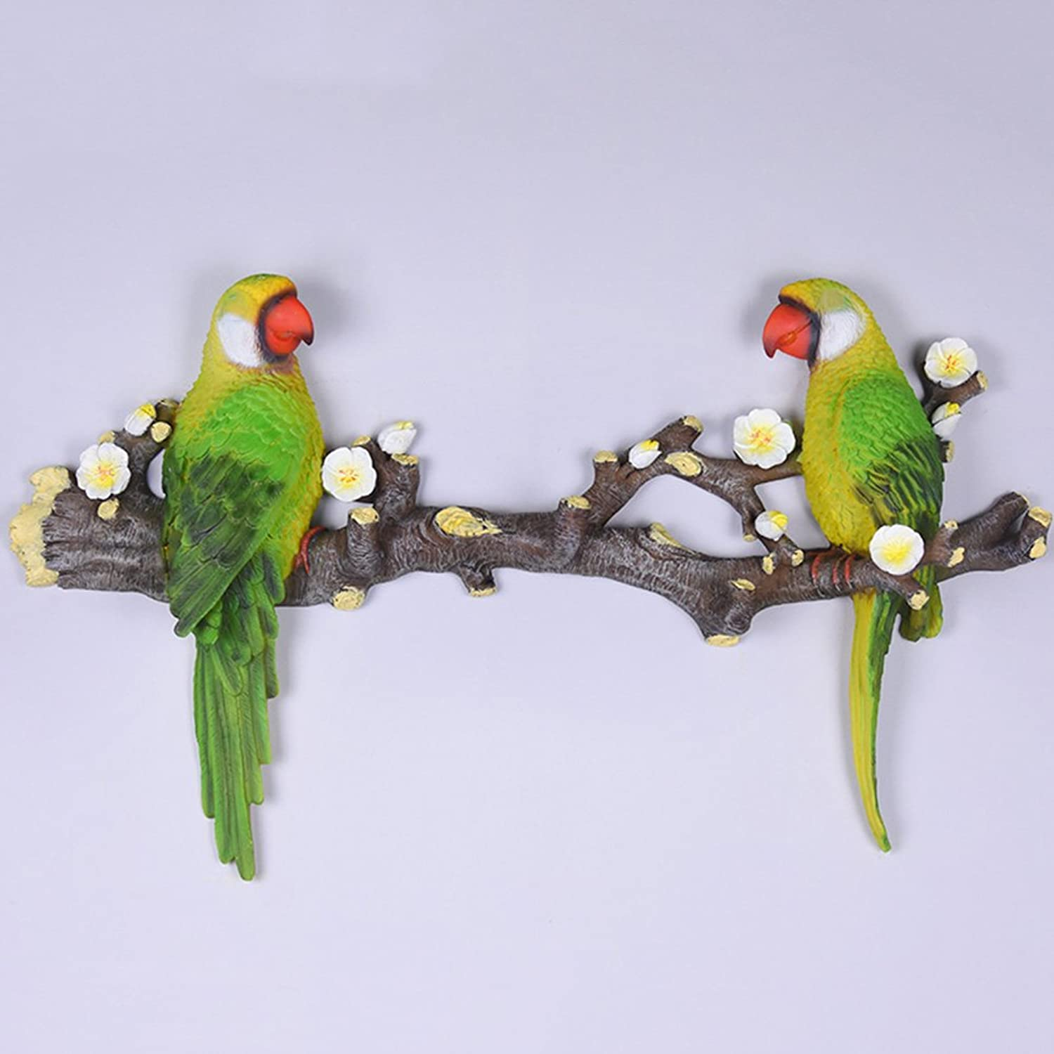 ZEMIN Wall Coat Rack Clothes Hat Hanger Holder Hooks Fashion Wood Birds Style, 2 colors, 3 Sizes Available ( color   Green , Size   52x29CM )