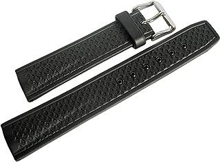 Bonetto Cinturini 20mm Black Rubber Watch Strap Model 302