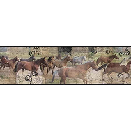Teal Black Browns York Wallcoverings Pony Express Border Cream