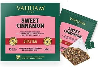 VAHDAM, Hot Cinnamon Tea | 30 Tea Bags (Set of 2) | 100% Natural Spices | Ancient Cinnamon Masala Chai Tea Recipe | Spiced Chai Tea Bag | Brew as Hot Tea or Iced Tea | Chai Tea Bag