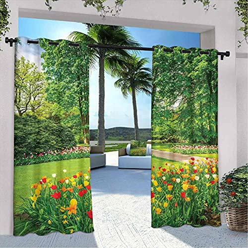 Country Decor - Cortinas para patio al aire libre, jardín en Keukenhof, coloridas flores y árboles de tulipán, primavera en los Países Bajos, aislamiento térmico, sombreado e impermeable, 226 x 300 cm