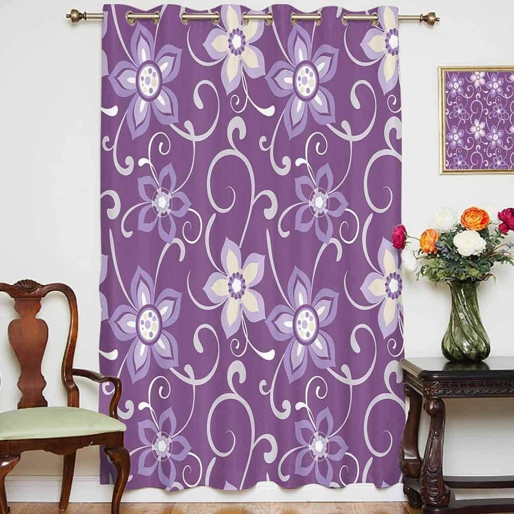 Berenjena - Cortinas opacas anchas con hojas que se pegan en ellas en un fondo morado relajante, con respaldo térmico para puerta de cristal, 160 x 114 cm, para sala de estar, color morado