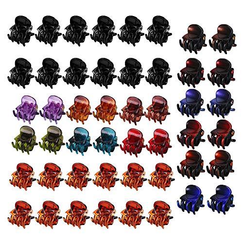 Mini Pince à Cheveux Griffe, 48 Pièces Petite Pince A Cheveux De Pieuvre en Plastique, Mode Mini Clips de Griffe, pour Filles et Femmes, Noir et Marro
