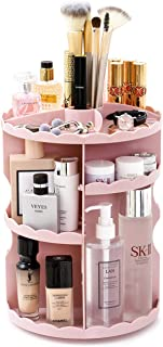 BEWAVE Makeup Organizer 360 Degree Rotating, Adjustable Multi-Function Cosmetic Storage Box for Women Skincare Bathroom Countertop (Pink)