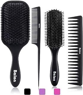 برس موی 4Pcs دست و پا ، برس برس و شانه مو برای آقایان و خانمها ، عالی روی موهای مرطوب یا خشک ، بدون برس موی بیشتر برای موهای طبیعی نازک و باریک بلند (سیاه)