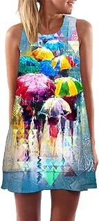 neveraway Women Summer Sleeveless Vintage Boho Beach Printed Short Mini Dress