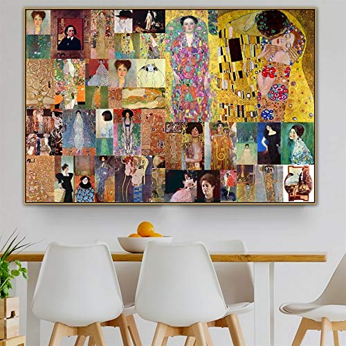 Cuadro modular decoración del hogar Gustav Klimt Gustav Klimt viejo famoso maestro pintor Judith lienzo pintura mural sala moderna impresión HD 60x75cm Sin marco