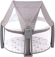 LZWH Portable baby multi-function folding bedside bed mosquito net bed peach skin material sky gray size 74.5 * 13 * 47.5cm,Grey