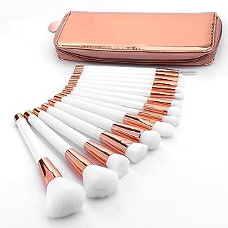 Summifit 15 Pcs Makeup Brushes with Zipper Bag Powder Foundation Contour Blending Eyeshadow Concealer Bronzer Lip Toiletry Kit (White Rose Gold)