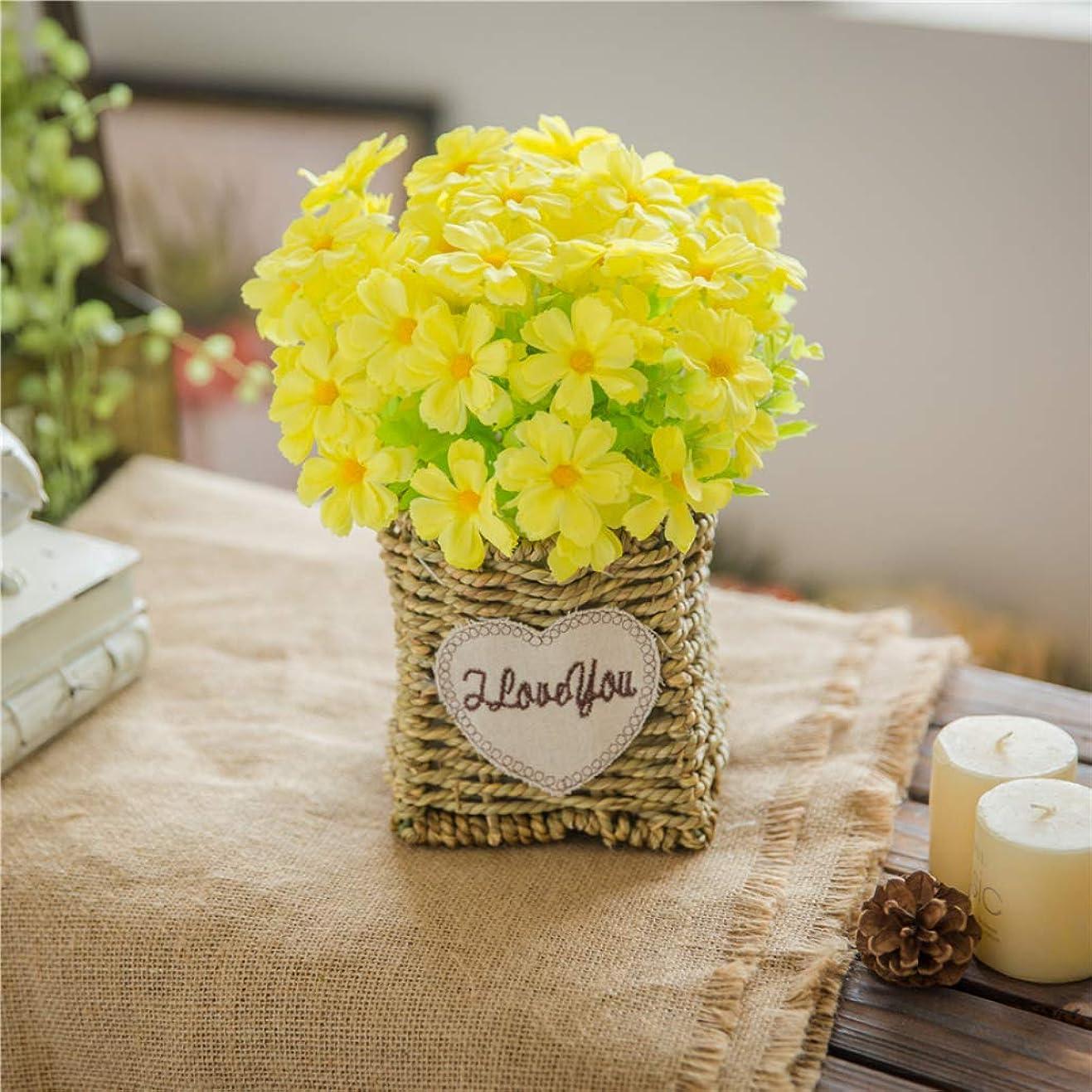 受け入れる寝具の間に造花 人工観葉植物 枯れない花 イエロー アートフラワー 花瓶付き 本物そっくり プレゼント ギフト 花束 ブーケ お祝い お返し 父の日 母の日 誕生日 結婚式 バレンタインデー 手作り 装飾 インテリア 置物
