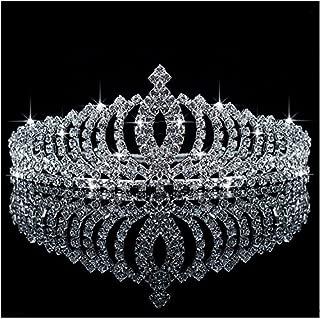 Bienna Crown Sparkly Rhinestones Decor Girls Headband Headpiece with Comb