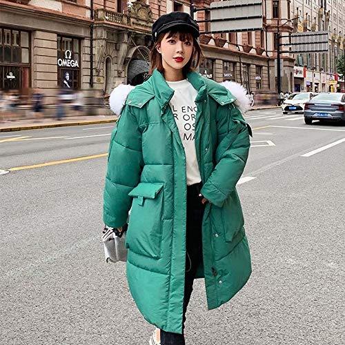 LnNyRf Invierno Largo Chaqueta for Mujeres del Collar Mujer con Capucha Parka Mujeres con Pieles y Grandes Bolsillos otoño Caliente Relleno de algodón Abrigo