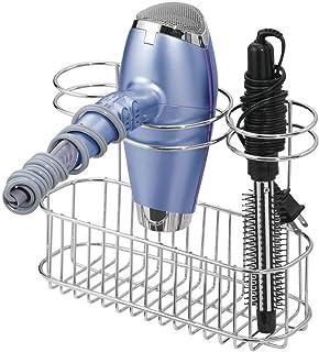 mDesign Bathroom Wall Mount Hair Care & Styling Tool Organizer Storage Basket for Hair Dryer, Flat Iron, Curling Wand, Hai...