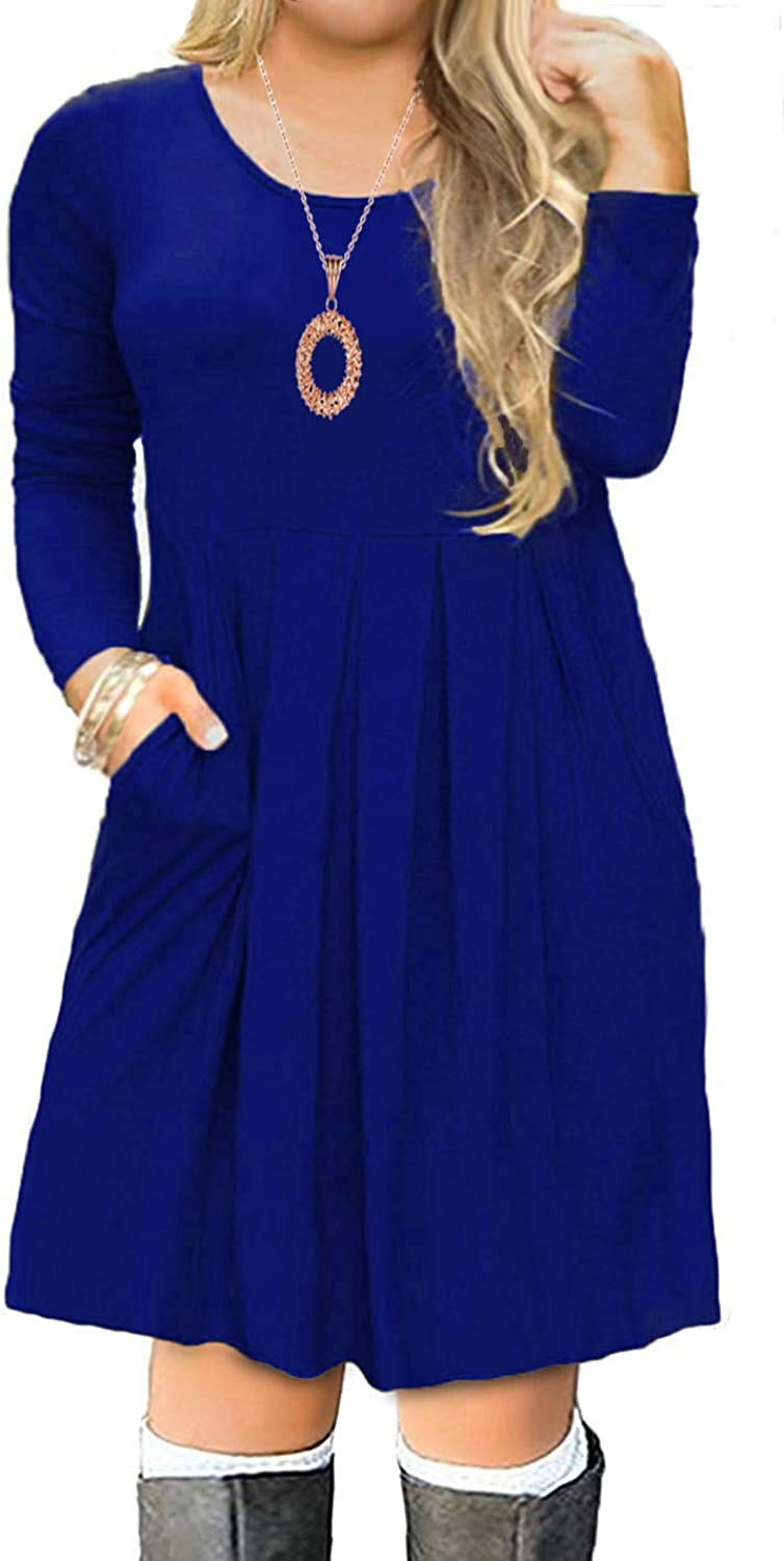 Kancystore Women's Plus Size Casual Long Sleeve Pleated Loose Swing TShirt Dress with Pockets