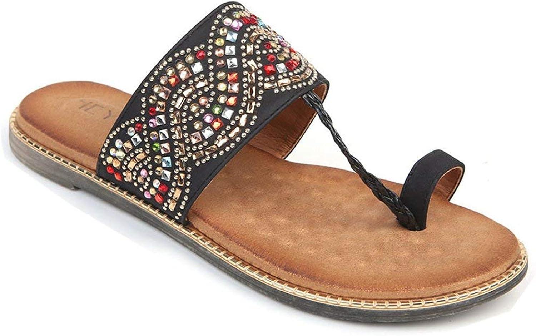 Fashion shoesbox Women's Summer Rhinestone Flat Sandals Slide on Fashion Casual Clip Toe Flip Flops Slippers