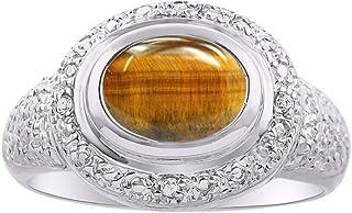 RYLOS - Anillo para mujer (oro blanco de 14 quilates, 9 x 7 mm, esmeralda, rubí y zafiro)