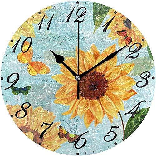 L.Fenn Silent Decoratieve diameter grote wandklok ronde zonnebloemen en vlinders